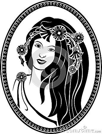 Medallion vignette,  portrait of a girl