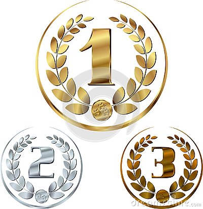 Free Medals - Awards Set With Laurels In A Circle Royalty Free Stock Photos - 137336108