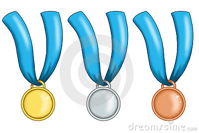 Medals with blue ribbon