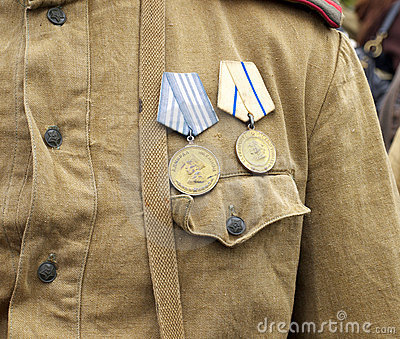 Medals on bosom