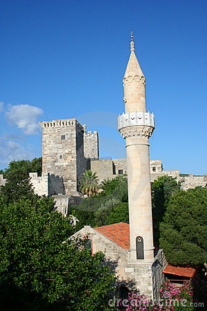 Medeival tower and mosque in Bodrum Castle