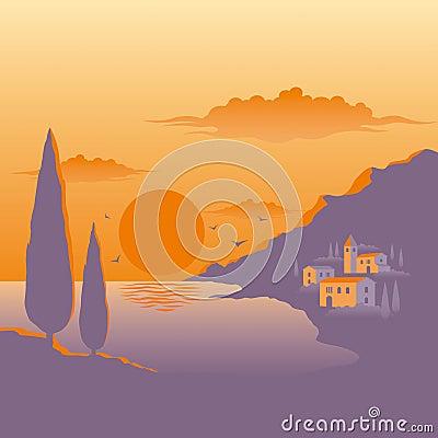 Medelhavs- solnedgång