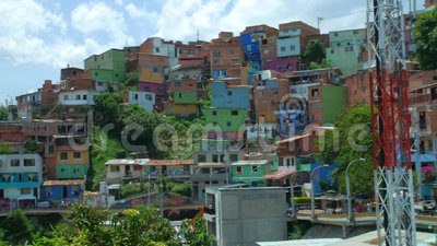 MedellÃn Колумбия, comuna 13 взгляда, Латинская Америка акции видеоматериалы