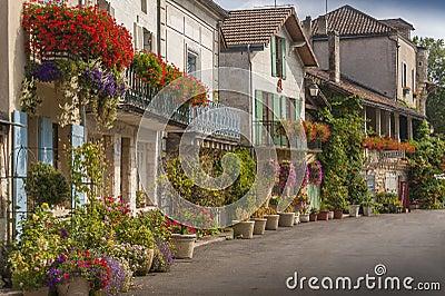 Medeltida town av Brantome