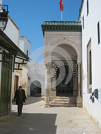 Medersa es Slimania street. Tunis. Tunisia Editorial Stock Photo