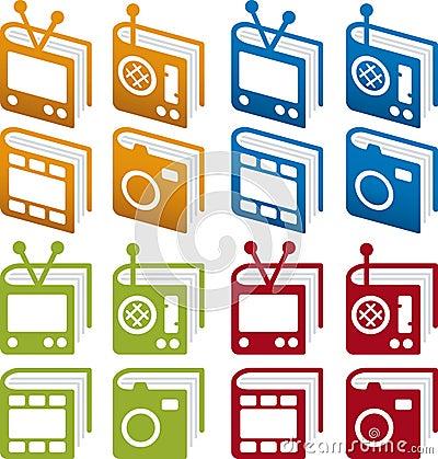 Media books icon set