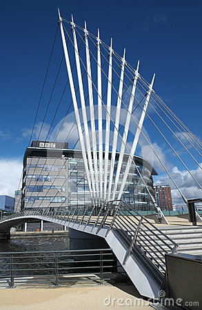 Media Bridge at Salford Quays UK Editorial Photography