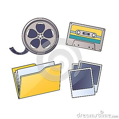 Media Cassette, film, folder, pictures