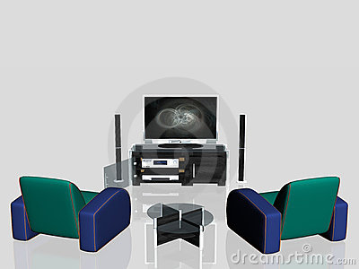 Media center, plasma screen in living room