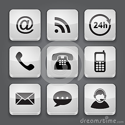 Media and communication button - set icons.