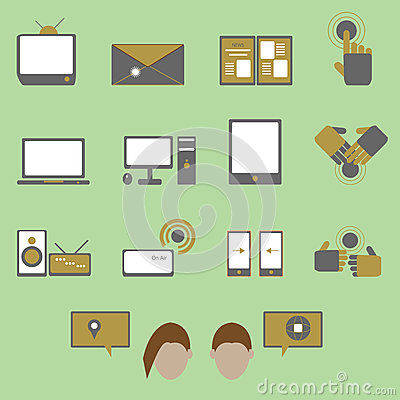 Media and communication color icons on green backg