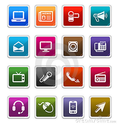 Media & Communication Icons 1 -  sticker series