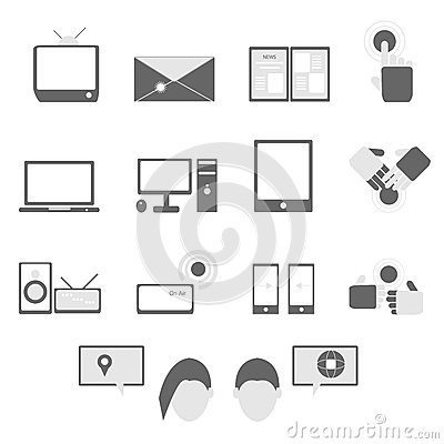 Media and communication icons on white background