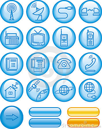 Media and communications icon set (Vector)