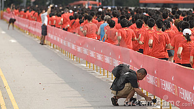 Media covering the nike human race Editorial Stock Photo