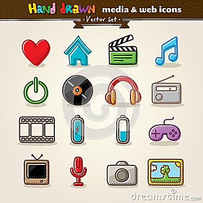 Media e ícones desenhados mão do Web do entretenimento