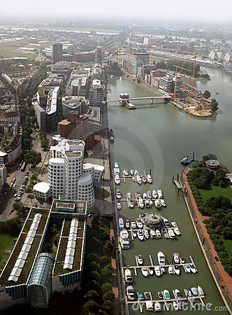 Media Harbor of Düsseldorf and river Rhine