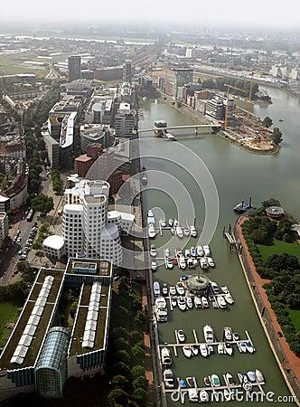 Media Harbor of Düsseldorf and river Rhine