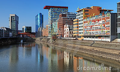 Media Harbour of Dusseldorf with modern buildings Editorial Photo