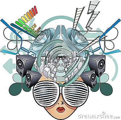 Media head abstract illustration