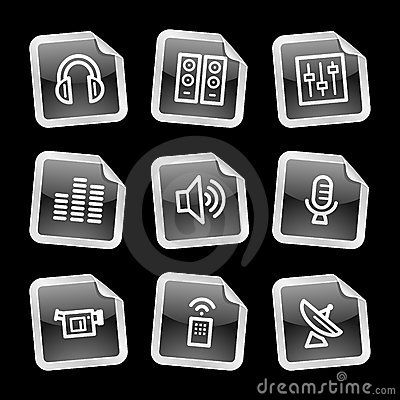Media icons, black sticker