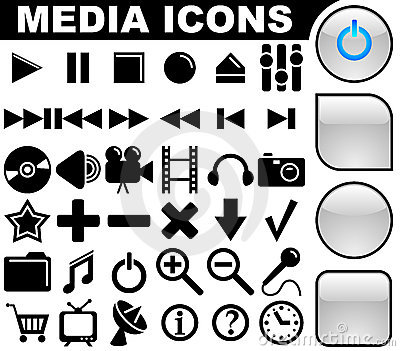 Media icons and buttons