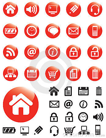 Media icons on Red buttons