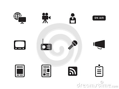 Media icons on white background.