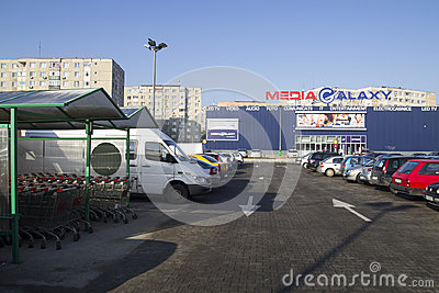 Media market and a parking Editorial Image