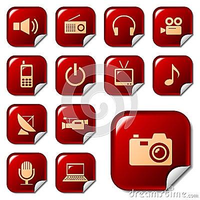 Media & telecom web icons