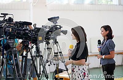 Media - TV Reporters Editorial Photo