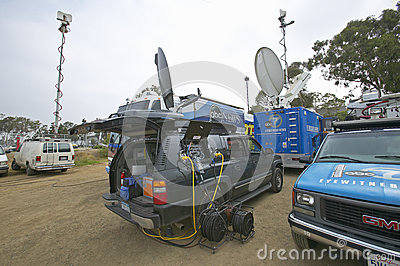 Media vans set up Editorial Stock Photo