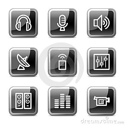 Media web icons, glossy buttons series