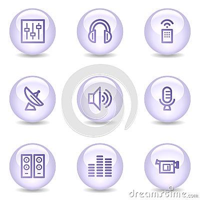 Media web icons, glossy pearl series