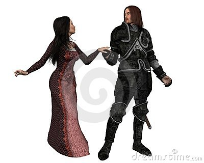 Mediaeval Knight and his Lady - isolated version