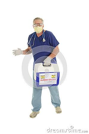 Medic transporting heart