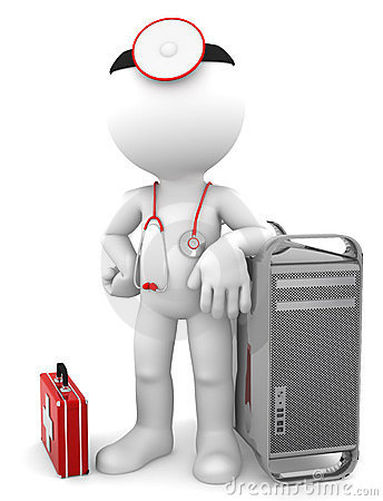 Free Medic With Computer Tower. Computer Repair Concept Royalty Free Stock Photo - 23498815