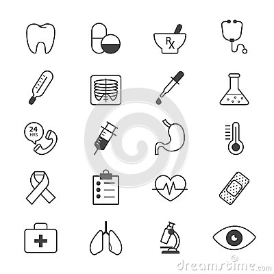 Free Medical And Health Care Icons Line Royalty Free Stock Images - 64973339