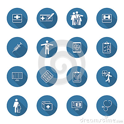 Free Medical And Health Care Icons Set. Flat Design. Long Shadow. Royalty Free Stock Photo - 58621375