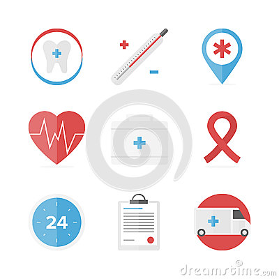Free Medical And Healthcare Assistance Flat Icons Set Royalty Free Stock Photo - 44619985