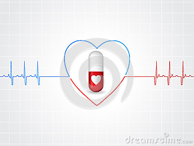 Medical background design with heart pill