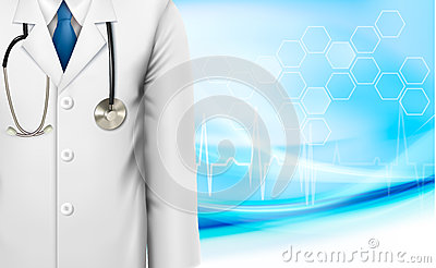 Medical background with a doctors lab white coat