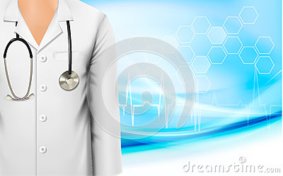 Medical background with a female doctors lab white