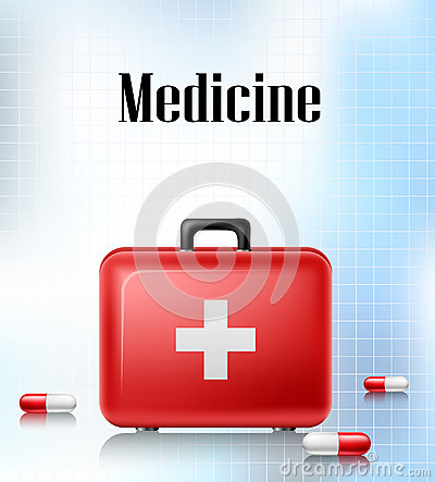 Medical background with first aid box and pills