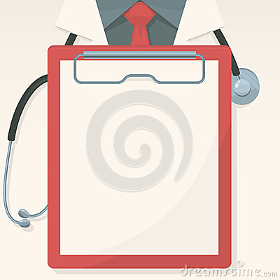 Medical background with record board and stethoscope