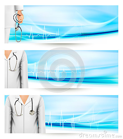Medical banners with a doctors lab white coat and