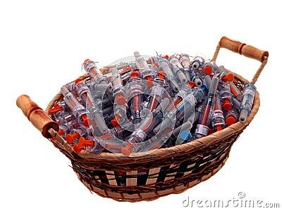 Medical: Basket of Used Syringes