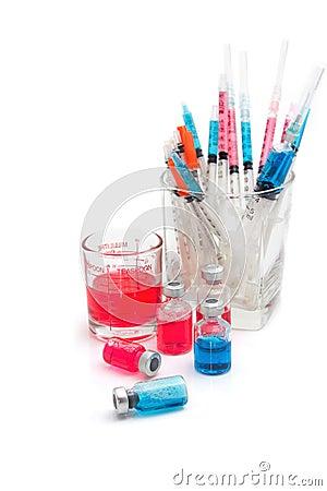 Medical bottles, ampoule, syringe and pills