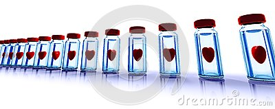 Medical bottles with red hearts