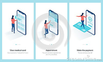 Medical centre concept onboarding. Vector Illustration